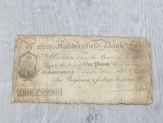 BANKNOTES HUDDERSFIELD COMMERCIAL BANK 1813 £1 BANKNOTE