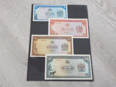 BANKNOTES RHODESIA $1 DATED 1978 $2 DATED 1977 $5 1976 AND $10 DATED 1975 ALL ARE ABOUT