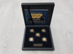 GOLD COINS THE FIRST WORLD WAR SOVEREIGN SET OF DATES DATED 1914 1915 1916 1917 AND 1918 TOGETHER IN