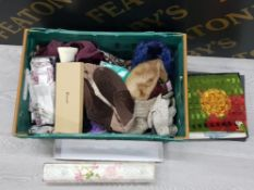 ASSORTED BOX OF HATS, SCARVES AND GLOVES