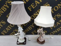 2 LADY FIGURE TABLE LAMPS, 1 GEISHA GIRL AND 1 FROM THE ELEGANT COLLECTION