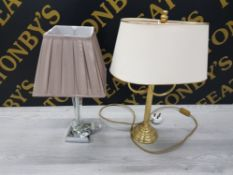 TWO TABLE LAMPS ONE BRASS THE OTHER CHROME EFFECT