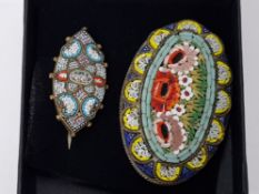 2 VINTAGE ITALIAN MICRO MOSAIC BROOCHES, BOTH NICELY DETAILED PIECES
