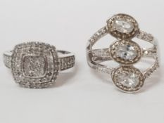 TWO SILVER AND CZ RINGS STAMPED SIZE T 1/2 10.9 G GROSS