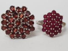 TWO SILVER RINGS WITH RED AND PINK STONES STAMPED SIZES R 1/2 AND U 14.2G GROSS