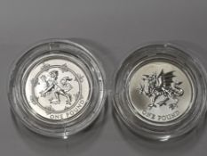 TWO 1 POUND COINS INCLUDING 1990 AND 2000 MILLENNIUM SILVER PROOF SET SILVER, COA MINTAGE 2000 SETS