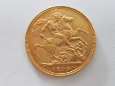 22CT GOLD 1905 FULL SOVEREIGN COIN STRUCK IN MELBOURNE