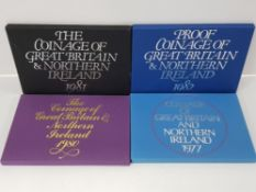 FOUR UK PROOF COIN YEARSETS OF GREAT BRITAIN AND NORTHERN IRELAND DATED 1977,1980,1981 AND 1982, ALL