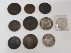 SPAIN MIXED COINAGE INCLUDING OLD COPPER AND SILVER COIN HIGH GRADES