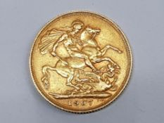 22CT GOLD 1907 FULL SOVEREIGN COIN