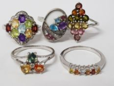 FIVE SILVER AND MULTI COLOURED STONE RINGS STAMPED SIZES R 1/2 T 1/2 AND U 22.5G GROSS