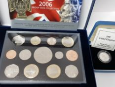 1990 SILVER PROOF 1 POUND COIN BOXED WITH COA MINTAGE 25,000, A 2006 ROYAL MINT PROOF YEARLY SET