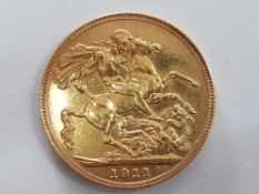22CT GOLD 1911 FULL SOVEREIGN COIN