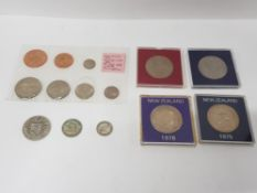 COLLECTION OF NEW ZEALAND COINS 1965 SET WITH VARIOUS CROWNS CASED, SOME PRE 1947 SILVER