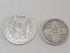 2 COINS 1849 FLORIN GODLESS WW NEAR RIM AND 1885 HALF CROWN