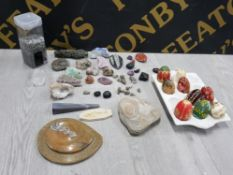FOSSILS AND CRYSTALS TO INCLUDE AMMONITES, OBELISK AND HAND PAINTED EGGS