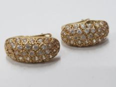18CT YELLOW GOLD DIAMOND TURBAN STYLE CLUSTER EARRINGS WITH HINGED CATCHES, APPROXIMATELY 1.02CT 3.