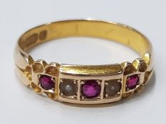 15CT YELLOW GOLD RUBY AND PEARL 5 STONE RING COMPRISING OF 3 ROUND RUBYS AND 2 PEARLS IN CLAW