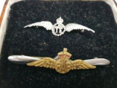 STERLING SILVER RAF SWEETHEART BROOCH TOGETHER WITH ANOTHER IN BRASS OVERLAID ONTO A WHITE