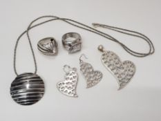2 SILVER RINGS, 1 SILVER SET PENDANT AND MATCHING EARRINGS AND 1 SILVER NECKLACE WITH PENDANT 60.