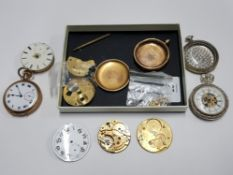 A SELECTION OF POCKET WATCHES AND PARTS INCLUDING GOLD PLATED DENNISON WATCHCASE CO FULL CASES