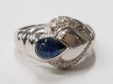 9CT WHITE GOLD SAPPHIRE AND DIAMOND ORNATE HEART CLUSTER RING COMPRISING OF A TEARDROP SHAPE