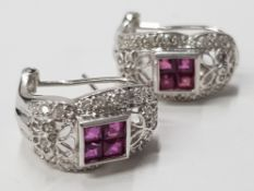 18CT WHITE GOLD SYNTHETIC PINK STONE AND DIAMOND EARRINGS, COMPRISING OF A 4 SQUARE SHAPE PINK STONE