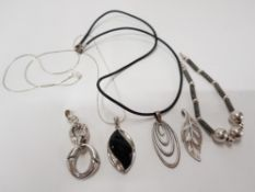 SILVER PENDANT, ONE SILVER CHAIN, ONE SILVER PENDANT AND ONE SKIN NECKLACE WITH SILVER FASTENING AND