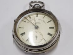 H SAMUEL MANCHESTER THE CLIMAX TRIP ACTION PATENT SILVER CASED POCKETWATCH ENAMEL ROMAN DIAL