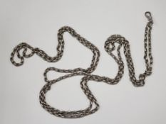 """62"""" SILVER MUFF CHAIN WITH BELCHER TYPE LINKS AND CLIP 48.5G"""