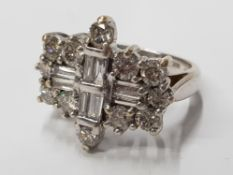 LADIES 18CT WHITE GOLD DIAMOND SET AEROPLANE CLUSTER RING COMPRISING OF BAGUETTE AND ROUND BRILLIANT