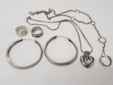 2 SILVER RINGS, 1 PAIR OF SILVER EARRINGS, 1 SILVER NECKLACE AND ANOTHER SILVER NECKLACE WITH