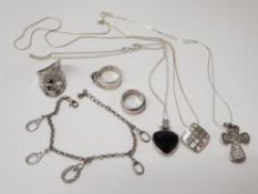 3 SILVER RINGS, 3 SILVER NECKLACES WITH PENDANTS AND ONE SILVER BRACELET 74.2G GROSS