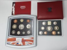 2 ROYAL MINT UK 1999 AND 2001 PROOF YEAR SETS COMPLETE IN ORIGINAL CASES WITH CERTIFICATES