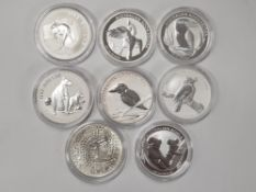 8 DIFFERENT SILVER ONE OUNCE COINS FROM AUSTRALIA, DATED BETWEEN 2000-2012 ALL PERFECT CONDITION