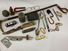 SMALL TRAY LOT OF EASTERN WHITE METAL BOXES INLAID STONES, BOY SCOUT WHISTLE AND PENKNIFE ALSO