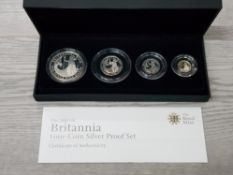 UK ROYAL MINT 2008 BRITANNIA 4 COIN SILVER PROOF SET OF COINS IN CASE OF ISSUE WITH CERTIFICATE