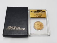GOLD SOUTH AFRICAN QUARTER 1996 KRUGERRAND PROOF EDITION IN CASE
