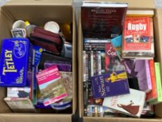 2 BOXES OF DVDS, CDS, BOOKS AND ORDNANCE SURVEY MAPS ETC