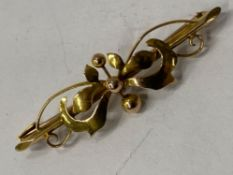 9CT YELLOW GOLD FANCY ORNATE BROOCH, 2G
