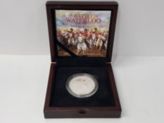 UK 2015 BATTLE OF WATERLOO 2 POUNDS PURE SILVER ONE OUNCE COIN IN CASE OF ISSUE WITH CERTIFICATE