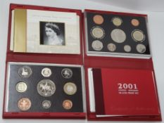 2 ROYAL MINT UK 2001 AND 2002 PROOF YEAR SETS COMPLETE IN ORIGINAL CASES WITH CERTIFICATES