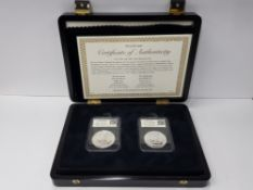 2 UK SILVER ONE OUNCE BRITANNIA COINS DATED 2012 AND 2013, PRESENTED IN WESTMINSTER DISPLAY CASE