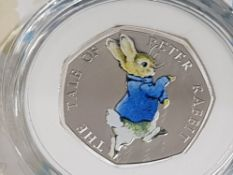 ROYAL MINT UK 2017 50P PETER RABBIT SILVER PROOF COIN IN CASE AND BOX OF ISSUE WITH CERTIFICATE