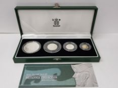 UK ROYAL MINT 2003 BRITAINNIA 4 COIN SILVER PROOF SET OF COINS IN CASE OF ISSUE WITH CERTIFICATE