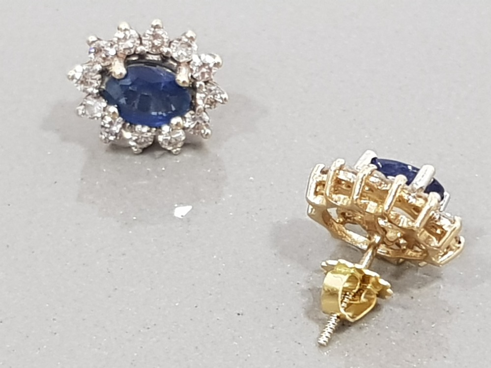 18CT YELLOW GOLD DIAMOND AND SAPPHIRE CLUSTER EARRINGS - Image 2 of 3