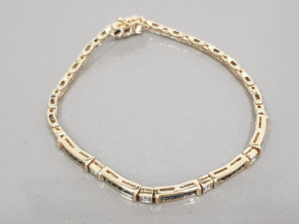 9CT GOLD SAPPHIRE AND DIAMOND LINE BRACELET - Image 2 of 3