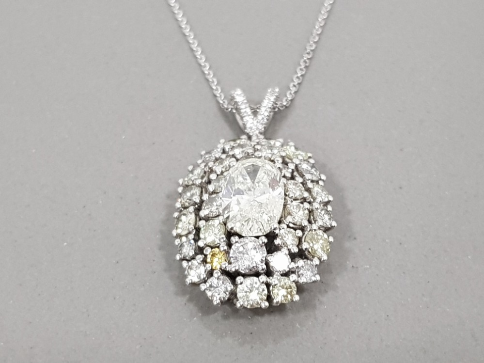 BEAUTIFUL 18CT WHITE GOLD DIAMOND CLUSTER PENDANT 6.5CTS TOTAL COMPRISING OF A 2CT OVAL DIAMOND