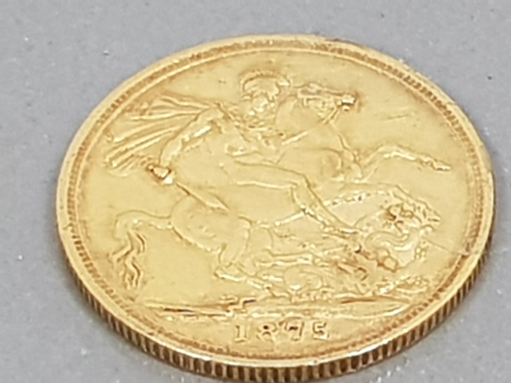 22CT GOLD 1875 FULL SOVEREIGN COIN WITH HEAD UPSIDE DOWN