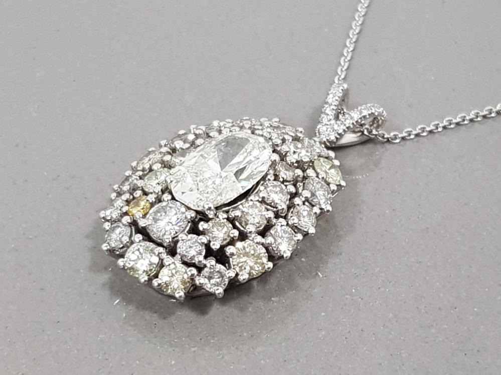 BEAUTIFUL 18CT WHITE GOLD DIAMOND CLUSTER PENDANT 6.5CTS TOTAL COMPRISING OF A 2CT OVAL DIAMOND - Image 3 of 3
